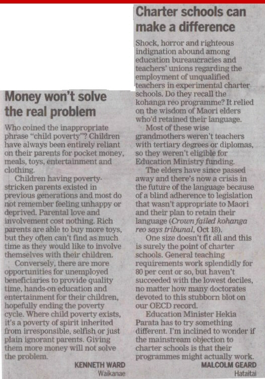 Two letters to newspaper in New Zealand, 10-24-12