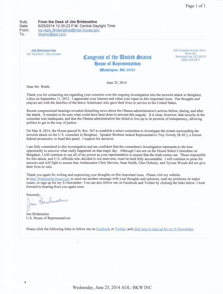 Letter from Bridenstine, June, 2014